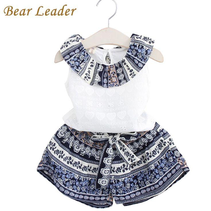 Bear leader di modo delle ragazze che coprono gli insiemi 2017 ragazze di marca vestiti dei capretti che coprono gli insiemi senza maniche white t-shirt + short 2 pz vestiti