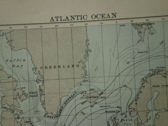 Antique map of the atlantic ocean  lovely by VintageOldMaps