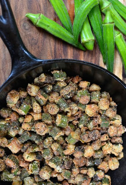 I grew up eating this almost every day. Love love this southern dish. Fried Okra with Sea Salt