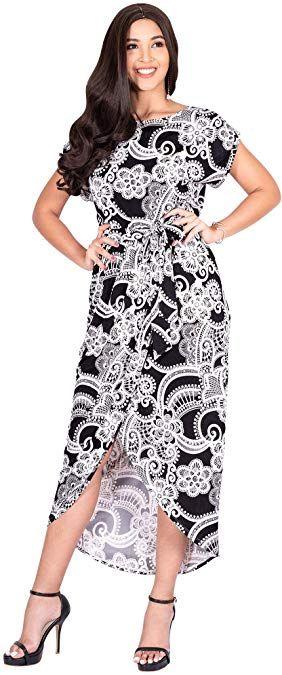 KOH KOH Womens Long Floral Print Lässige asymmetrische Kurzarm Midi-Kleid   – Dresses