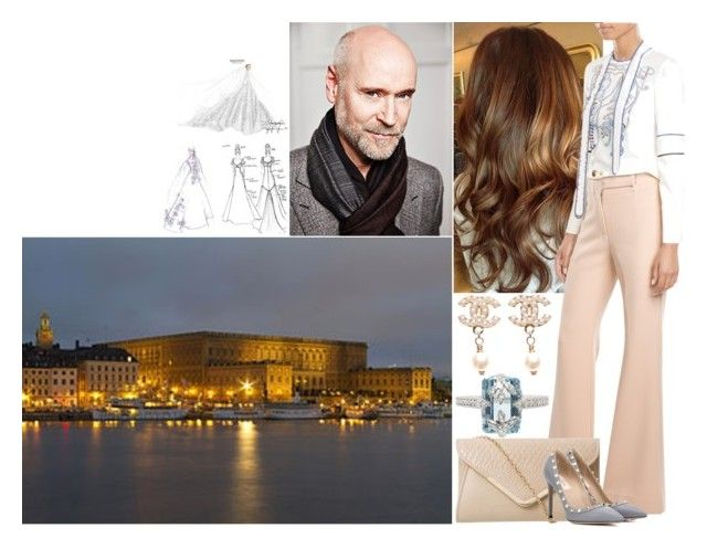 Having a secret meeting with Lars Wallin at the Royal Palace and being introduced to the final sketch of her dream wedding dress by deborawinter on Polyvore featuring polyvore мода style Jonathan Simkhai Valentino Cathy Waterman Chanel fashion clothing