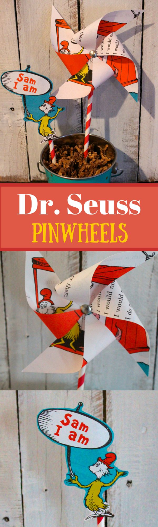 Dr Seuss Pinwheels from Green Eggs and Ham. Made in 15 minutes with pages from the book.
