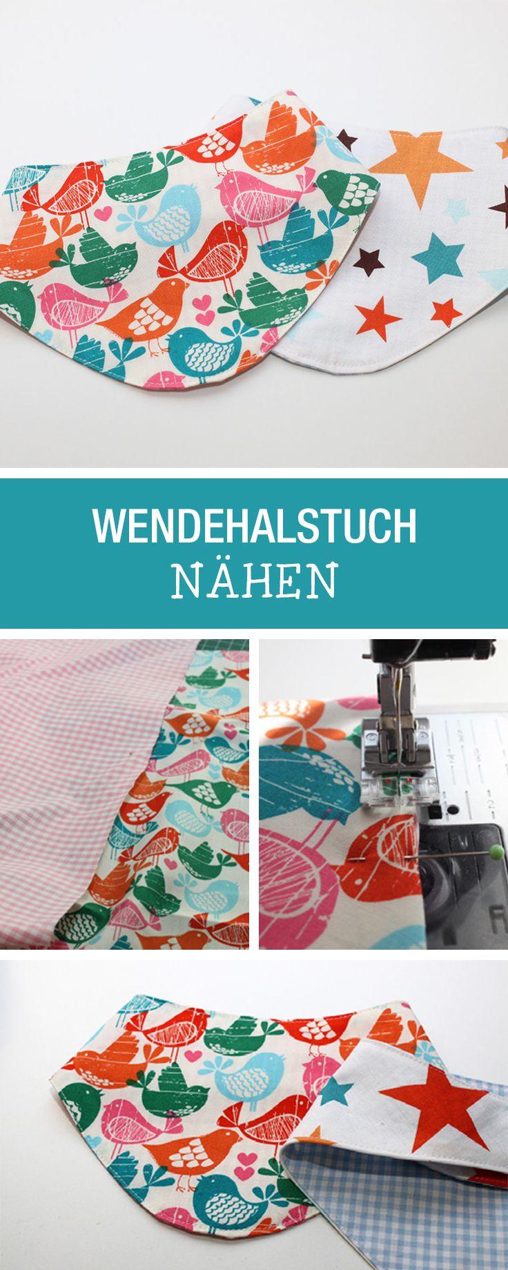 Nähanleitung für ein niedliches Wendehalstuch / diy sewing tutorial: how to sew a scarf for kids via DaWanda.com
