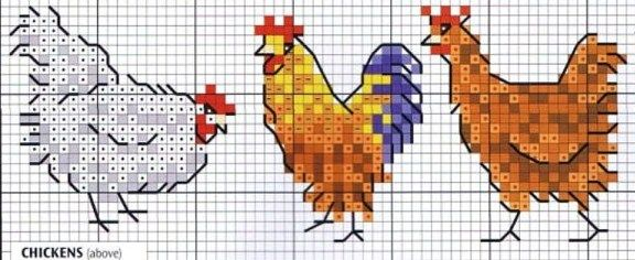 Cross Stitch Chicken Pattern #hens #rooster