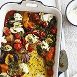 Запеченные овощи с соусом сальса