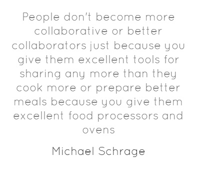 People don't become more collaborative or better collaborators just because you give them excellent tools for sharing any more than they cook more or prepare better meals because you give them excellent food processors and ovens. #HBR