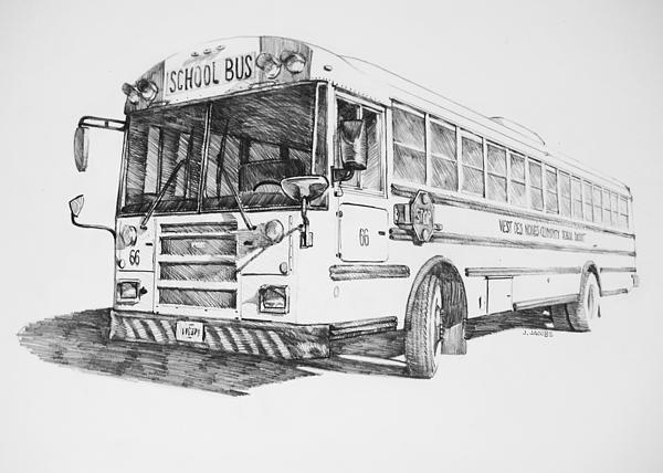drawings of buses   School Bus 66 Drawing by Jake Jacobs - School Bus 66 Fine Art Prints ...