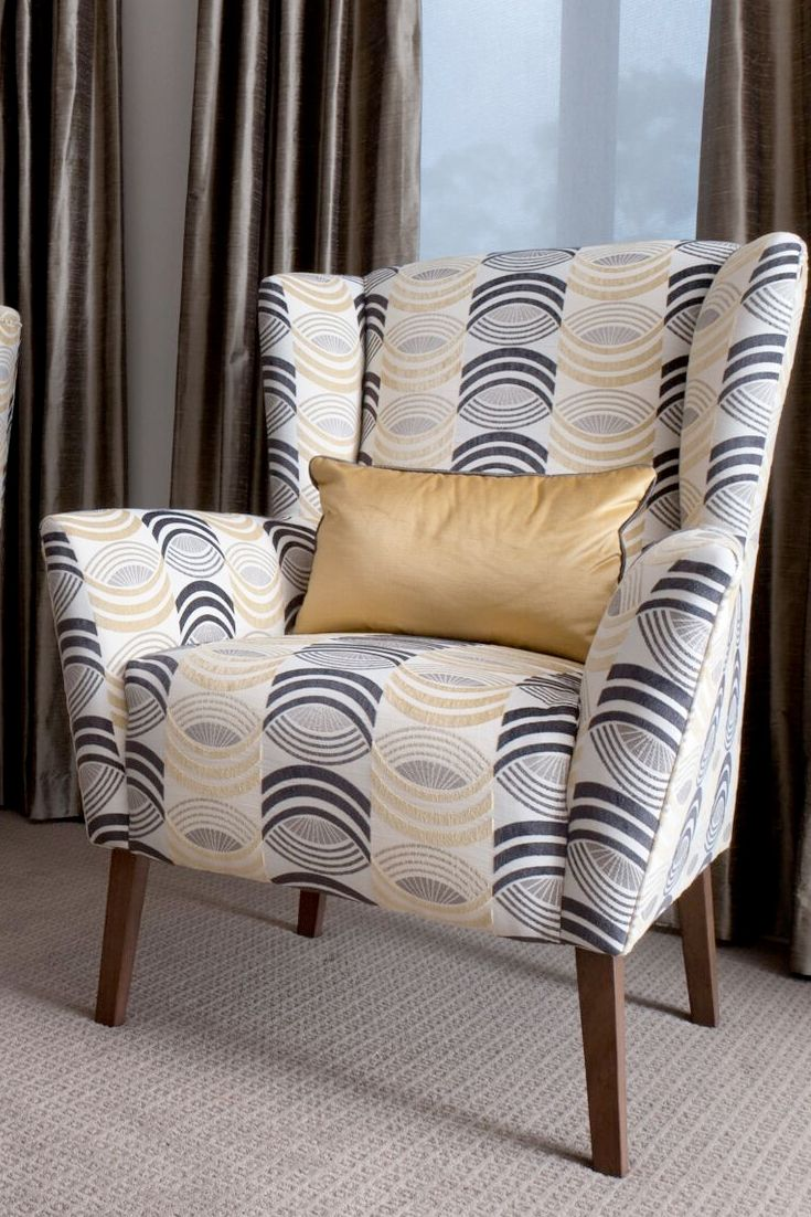 Emme Designs custom upholstered occasional armchair in grey, charcoal and gold.