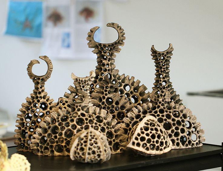 Skeleton Vases Handbuilt, carved clay, plankton, skeleton