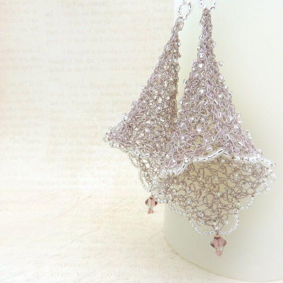 Wire Earrings Fairy Bell Crochet Jewelry