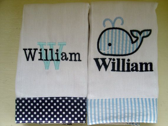 Baby Boy Burp Cloths with Applique Whale and by flauntthename, $16.00