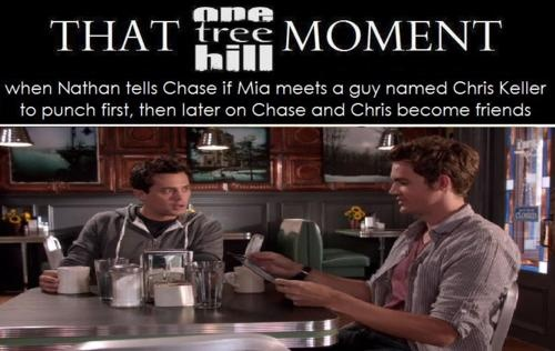 When Nathan tells Chase if Mia meets a guy named Chris Keller to punch first, then later on Chase and Chris become friends