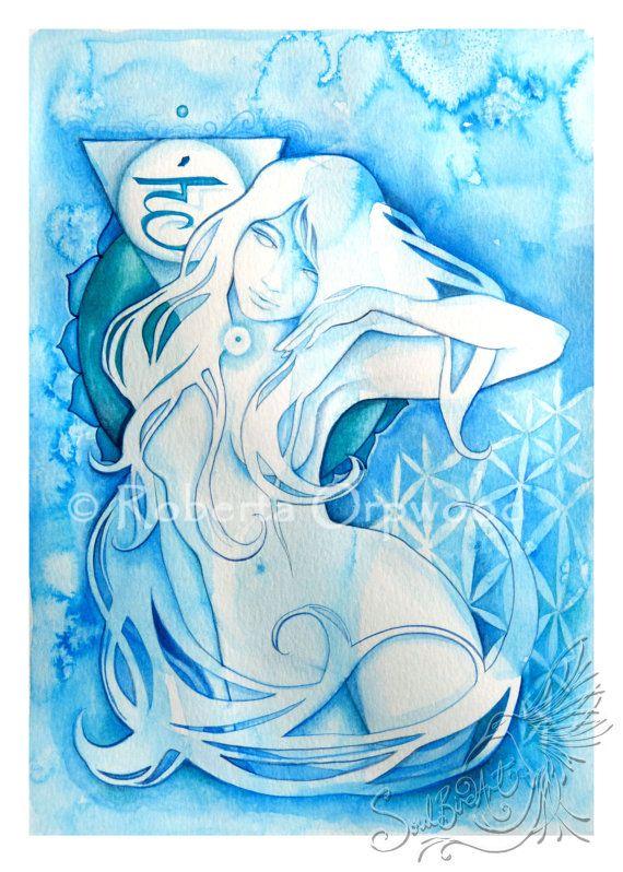 Blue Throat Chakra Goddess / Self Expression 'Vishuddha' Turquoise Goddess / A3…