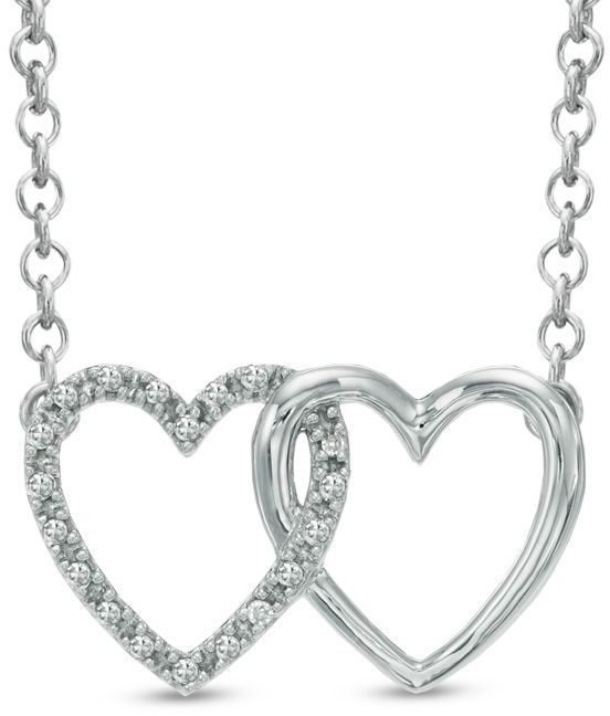 """Zales Diamond Accent Double Heart Necklace in 10K White Gold - 16"""""""