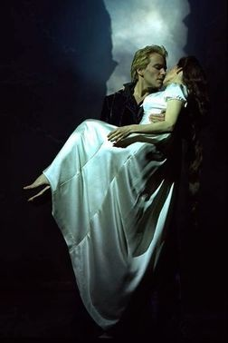 "Uwe Kröger and Pia Douwes as Der Tod (Death) and Empress Elisabeth from the German musical ""Elisabeth"""