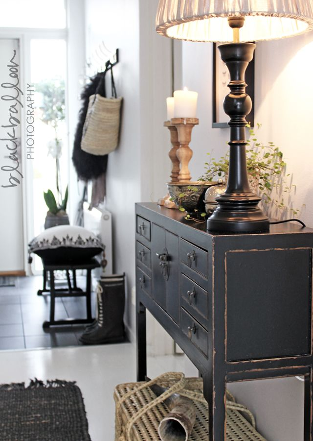 black cupboard & bench, hooks with lovely detail