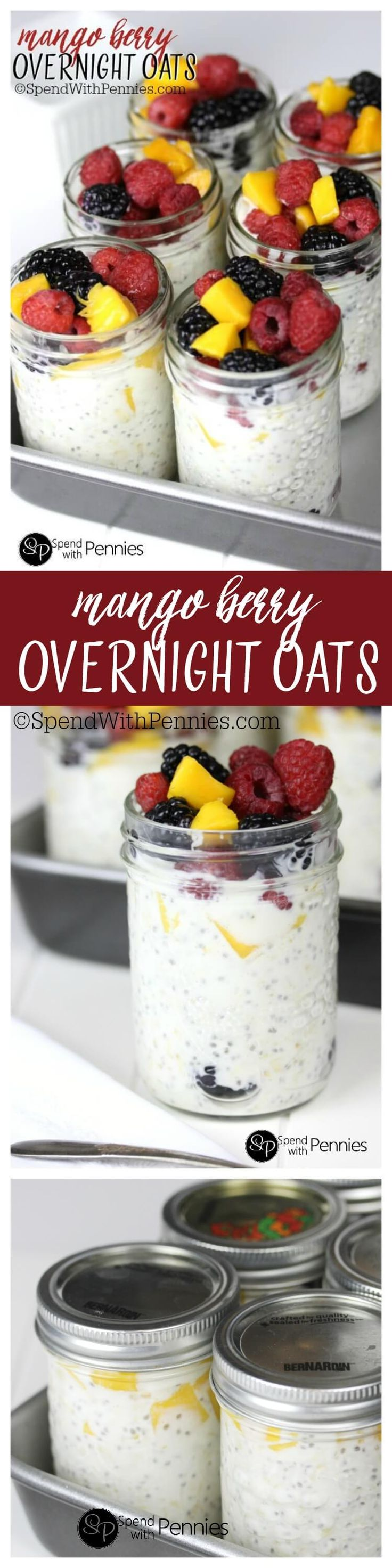 Overnight Oats can be made with any fruit and are and easy, healthy make ahead breakfast!  Perfect to grab & go!