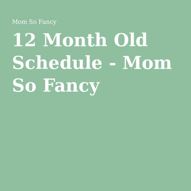 12 Month Old Schedule - Mom So Fancy