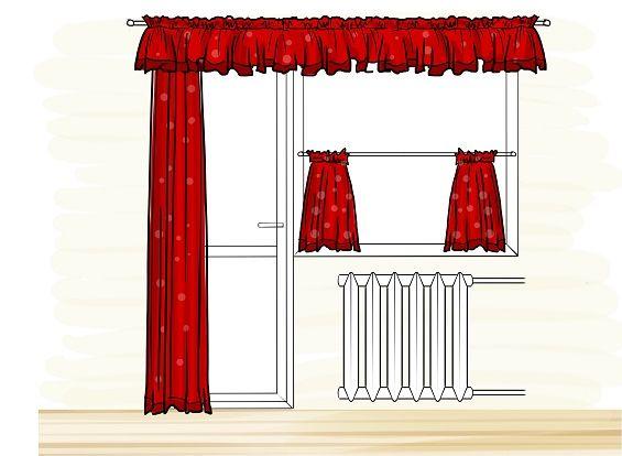 Красные шторы на балконной двери с окном