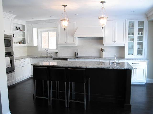 Kitchen with white cabinets dark island dark hardwood floors haute home pinterest - White kitchen with dark island ...
