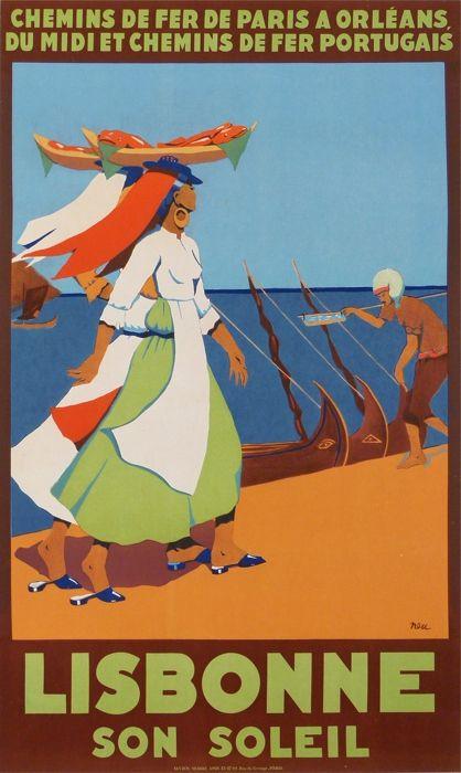 Lisbonne Son Soleil - Lisbona beach , Portugal . Vintage travel beach poster #essenzadiriviera.com
