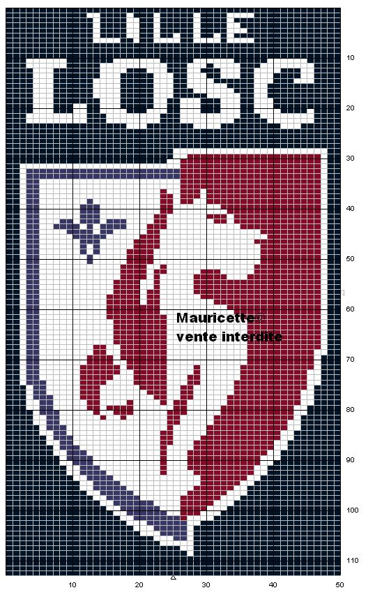 sport - football - lille - point de croix - cross stitch - Blog : http://broderiemimie44.canalblog.com/