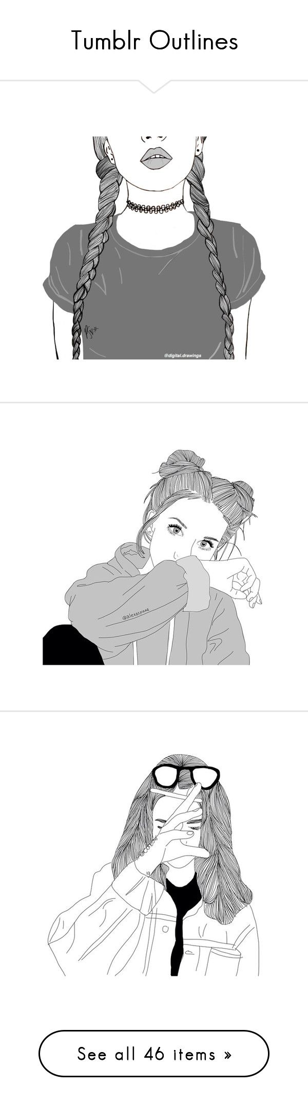 """""""Tumblr Outlines"""" by natalyyyyyya on Polyvore featuring filler, fillers, drawings, art, extras, pictures, outline, essentials, backgrounds and drawing"""