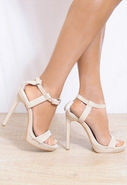 Nude Patent Barely There Strappy Sandals Stilettos High Heel