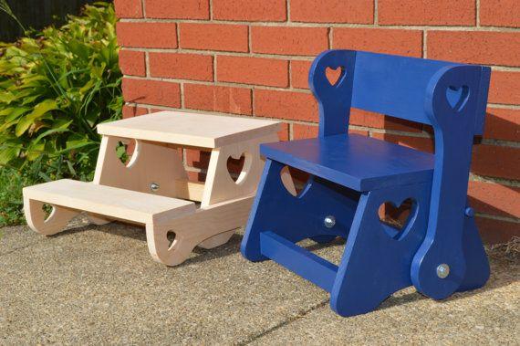 Bambino sgabello pieghevole panca / tinta legno passo sgabello / sgabello passaggio del bambino / bambino passo sgabello sedia / bambini mobili / cucina passo sgabello
