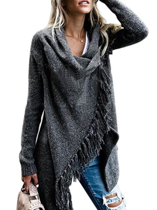 Womens Fashion Shawl Wrap Sweater Jumper Tops Ladies Casual Poncho Coats Outwear