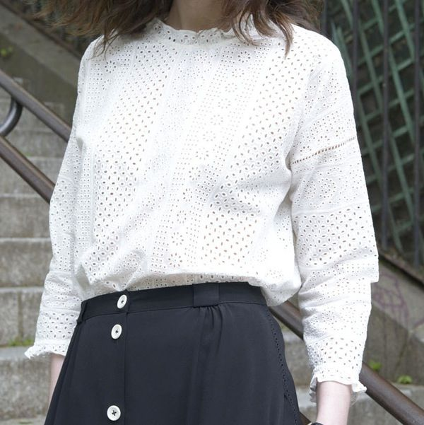 Blouse Claude broderie anglaise - MAISON BRUNET - http://maisonbrunet.com/product/blouse-claude-broderie-anglaise?ref=category-femme #blouse #top #broderie #embroidery #details #ss16 #femme #woman #madewithlove #conçuaparisavecamour