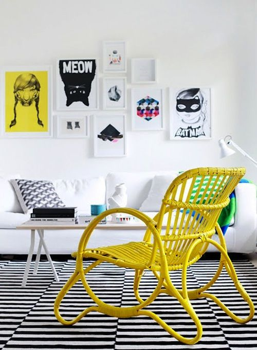 love the yellow cane chair: Rattan Chairs, Living Rooms, Amber Interiors, Black And White, Interiors Design, Black White, White Frames, Yellow Accent, Yellow Chairs