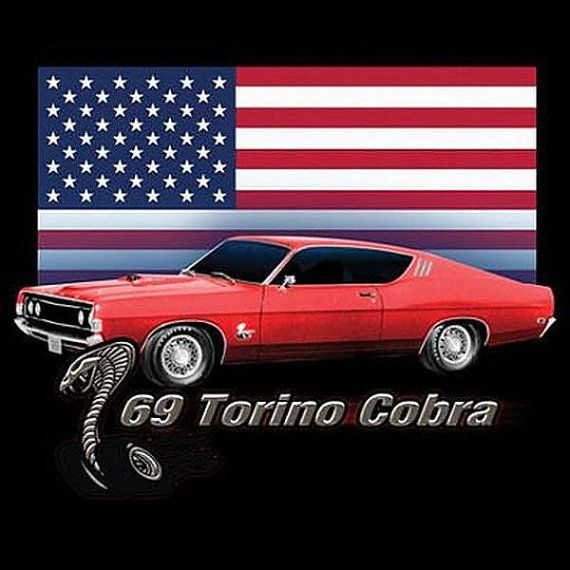 Ford 1969 Gran Torino Cobra Car Mens T Shirt by OldSaltSailorTees