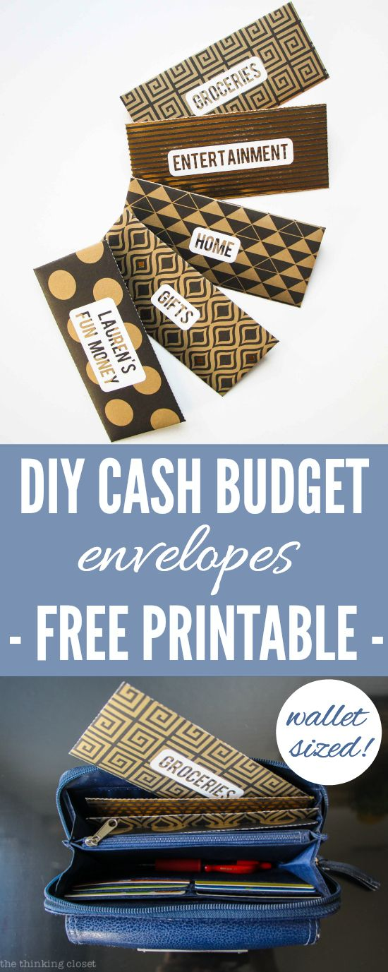 DIY Cash Budget Envelopes: Free Printable | Learn how to create your own wallet-sized envelopes using any paper or scrapbook paper. | @thinkingcloset