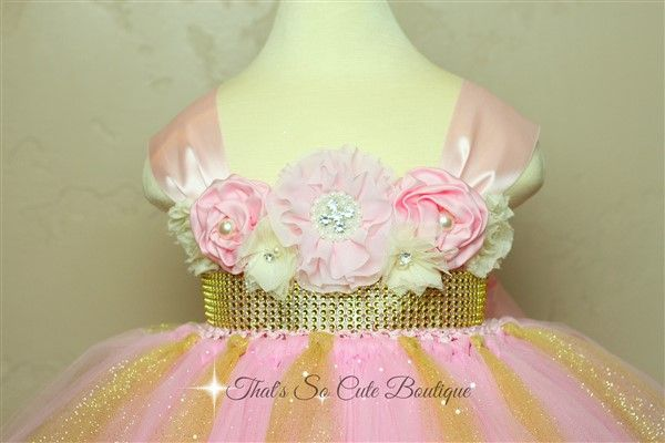 Pink and Gold Flower Girl Tutu Dress-pink, gold ... - photo #35