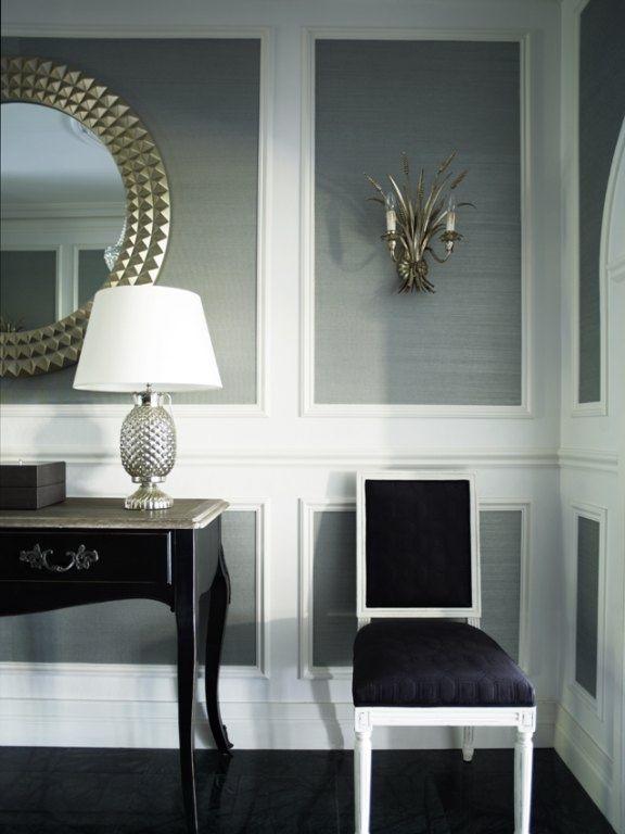Foyer Furniture Sydney : Foyer wall molding inlaid with metallic grass cloth