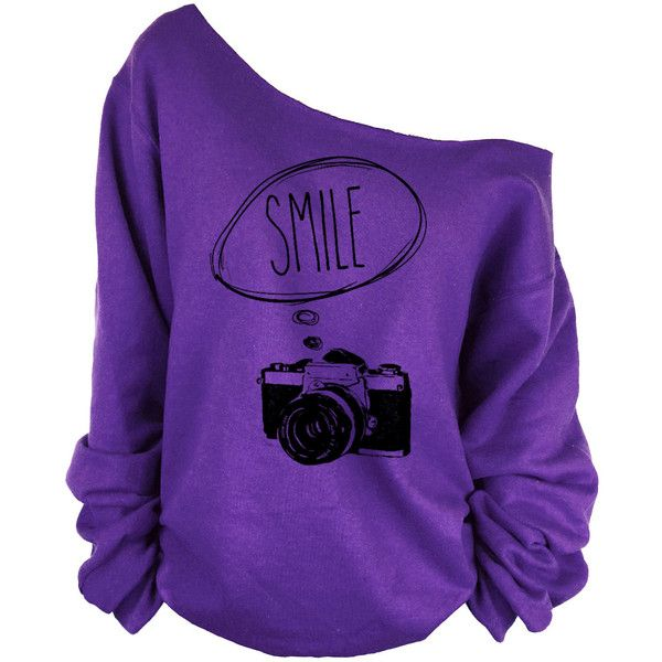photograph camera print oversized off shoulder raw edge slouchy... ($29) ❤ liked on Polyvore featuring tops, hoodies, sweatshirts, sexy sweatshirts, sexy tops, purple sweatshirt, sexy off shoulder tops and off the shoulder sweatshirt