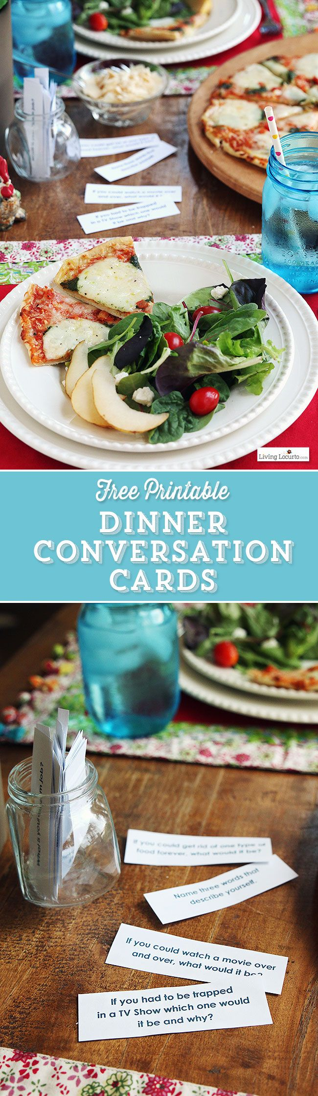 48 Free Printable Dinner Conversation Starter Cards. Perfect meal idea for your family or dinner party! by @livinglocurto
