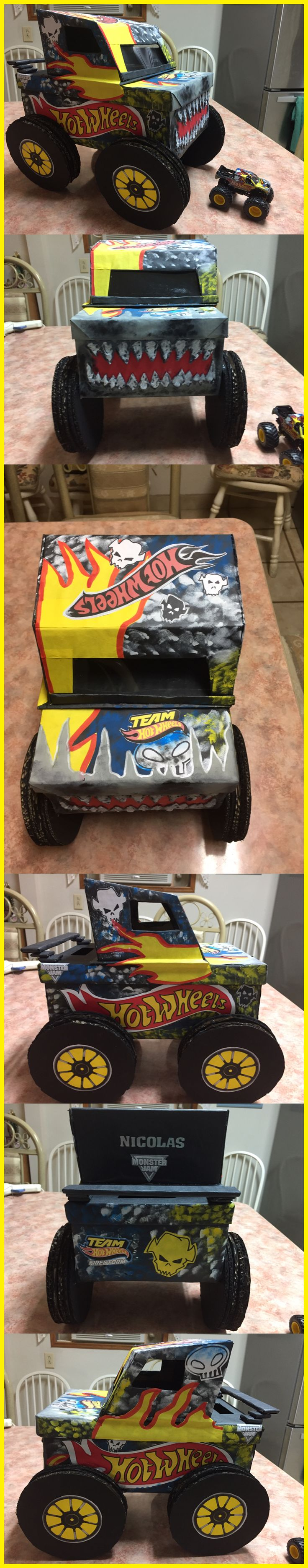 Craft box on wheels - Valentines Box Monster Truck Team Hot Wheels