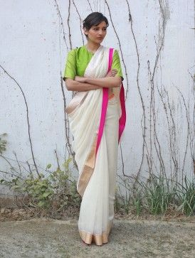 Ivory Chanderi & Zari Marigold Saree with a neon green blouse... i love contrasts!