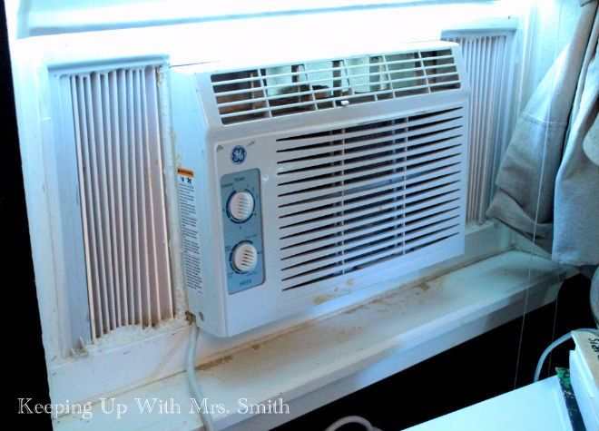If I ever had to use one, this would be a great way to spruce it up a bit.  How To Hide Your Ugly Window AC Unit In One Hour