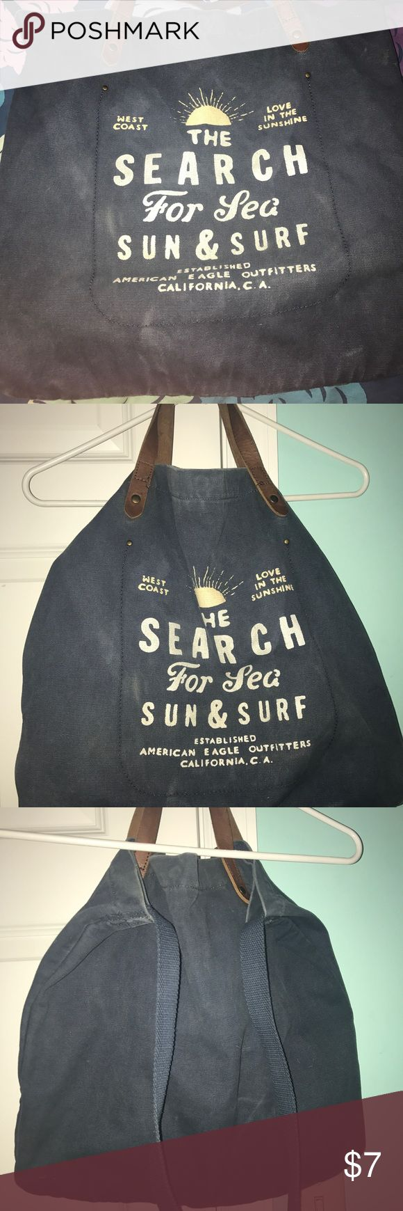 American Eagle tote bag Navy AE tote bag.  - can be worn as cross body or carried as a tote - 2 pockets inside for phone/wallet etc. American Eagle Outfitters Bags Totes