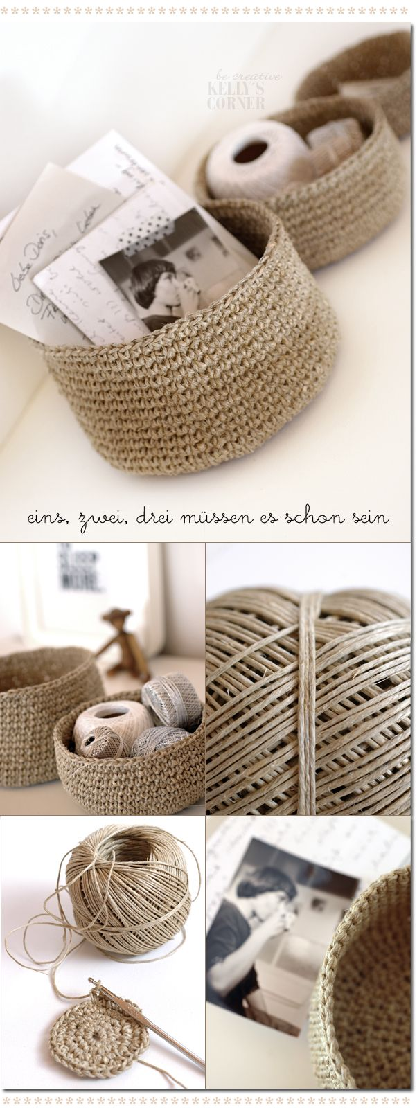 Crocheted storage bowls from packing twine. crochet basket storage yarn