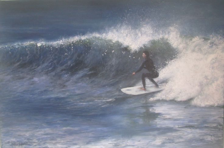 Surfer @ St Francis bay Oil painting 50 x 76 cm by Zelda Alistoun paintings (wave, sea, surfer, St Francis bay)