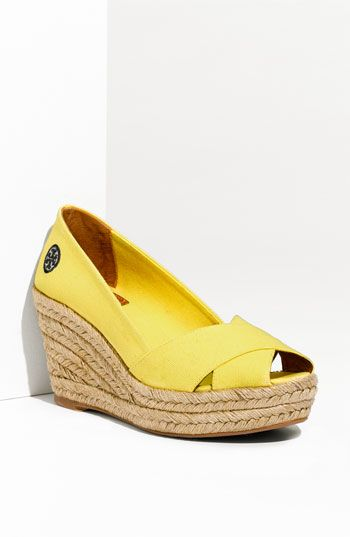 Tory Burch Criss Cross Espadrille wedge from Nordstrom! Love the lemon yellow!
