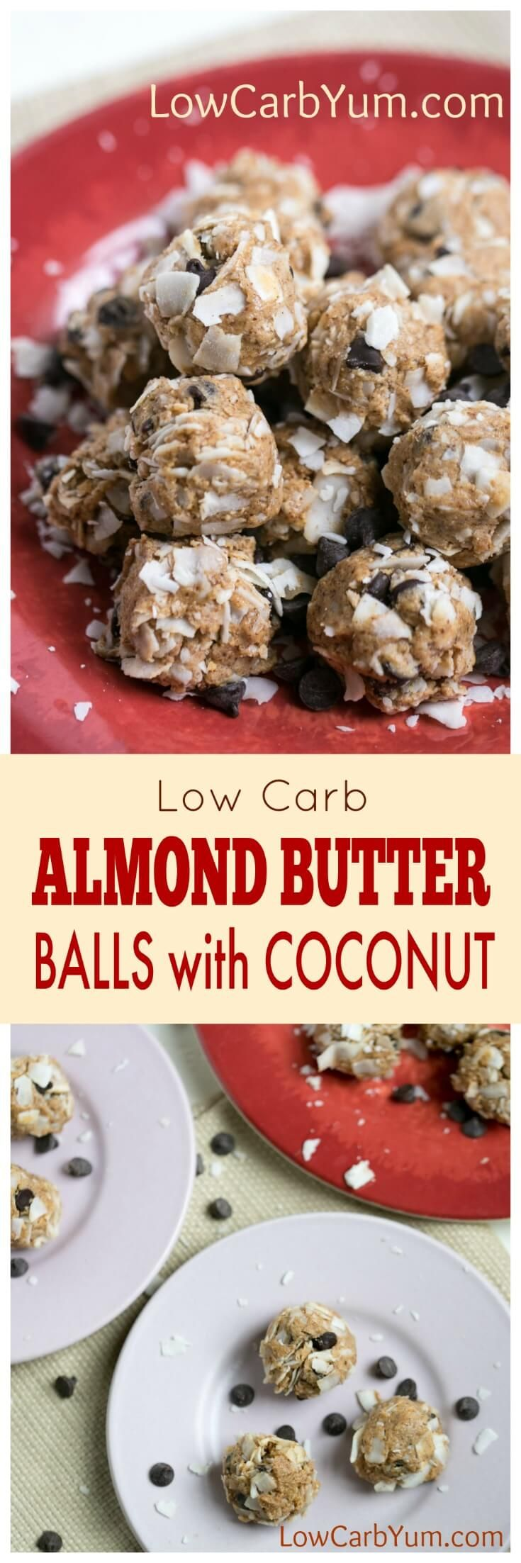 A no bake almond butter balls recipe that's quick and easy to make. These little protein bites are a perfect snack to boost energy during the day.   LowCarbYum.com