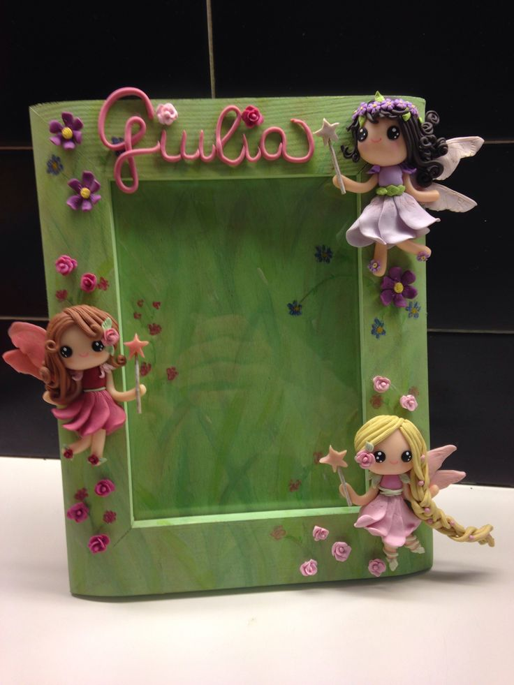 """Flowers Fairies"" frame - handmade with fimo"