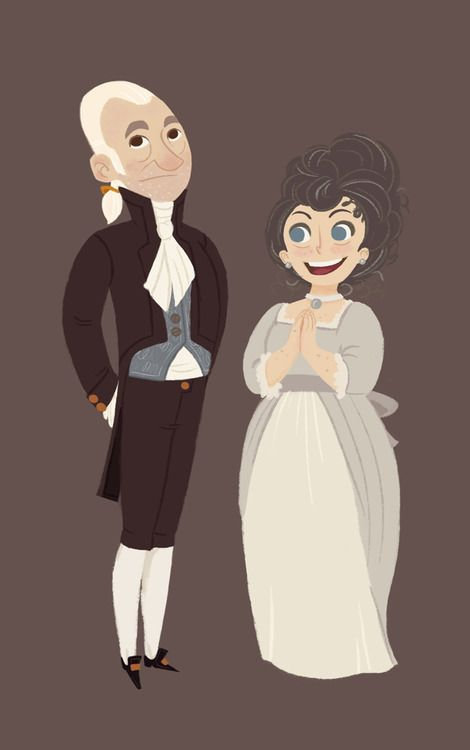 Mr. and Mrs. Bennet (at last! next will be kittie and lydia!) from part of a full illustration of Pride.