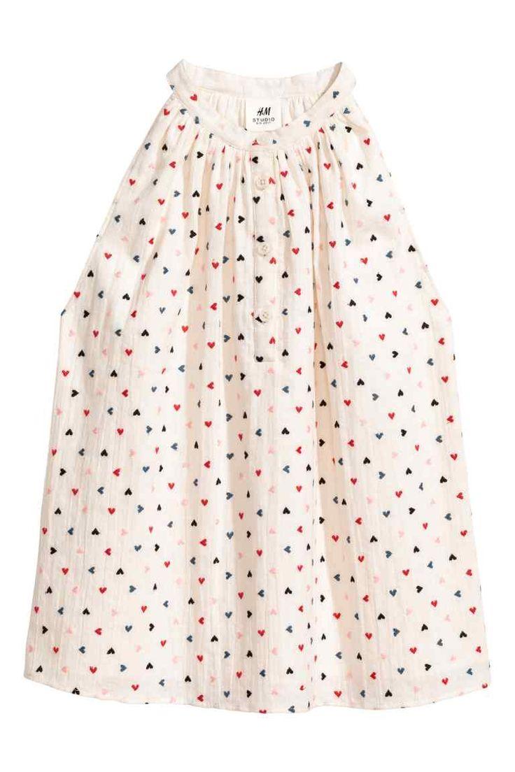 Mouwloze katoenen blouse - Gebroken wit/hartjes - KINDEREN | H&M NL 1