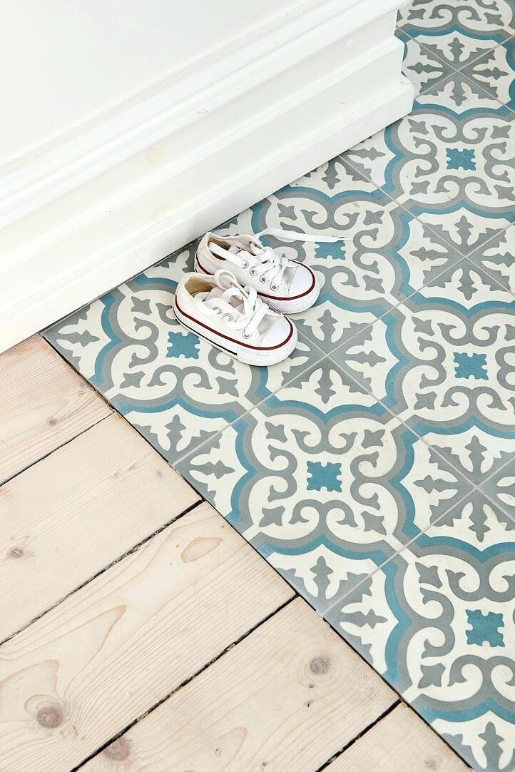 Decorative Floor Tile Inspired Blue White And Gray Ceramic Tiles Uk